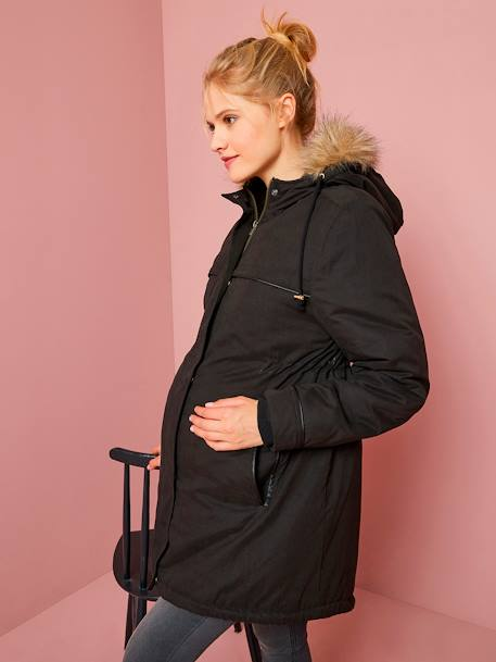 3-in-1 Progressive Parka, for During and After Pregnancy BLACK DARK SOLID