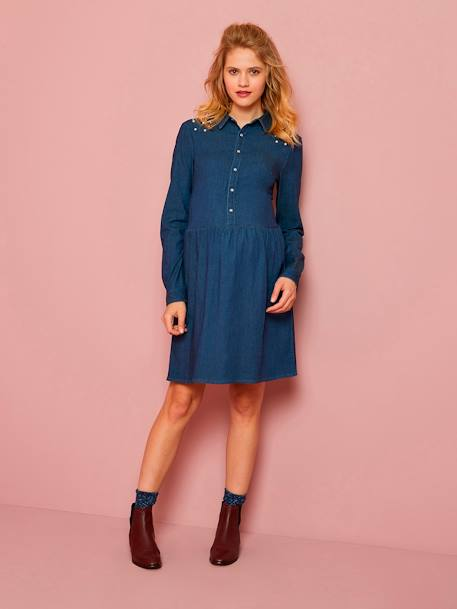 Denim Maternity Dress with Beads BLUE DARK SOLID WITH DESIGN