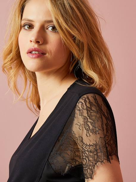 Maternity Lace T-Shirt BLACK DARK SOLID WITH DESIGN+BLUE BRIGHT SOLID+WHITE LIGHT SOLID