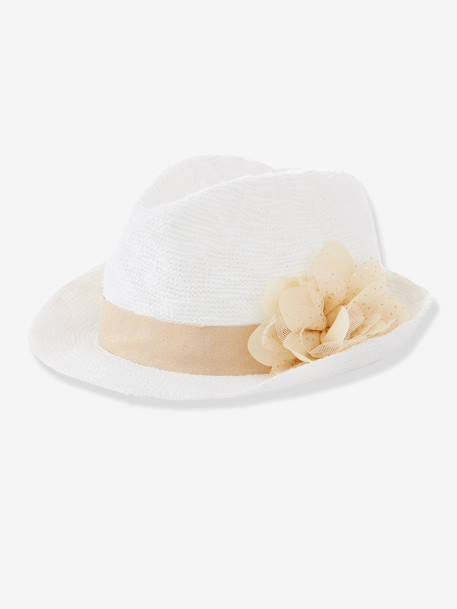 Girls Hat with Flower White