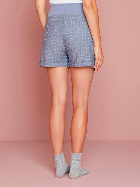 Maternity Loungewear Shorts in Printed Chambray BLUE MEDIUM ALL OVER PRINTED