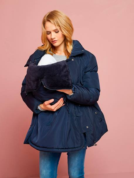 3-in-1 Progressive Padded Jacket, for Pregnancy and After-Pregnancy BLUE DARK SOLID