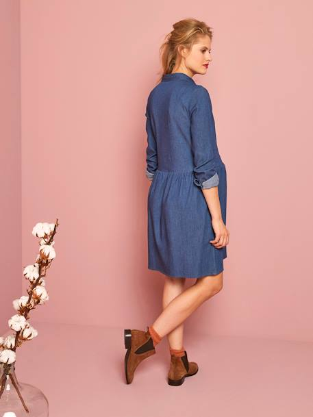 Embroidered Denim Maternity Dress BLUE DARK WASCHED