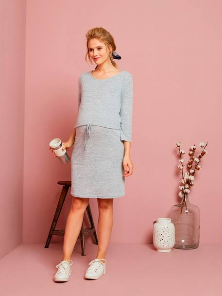 Soft Fleece Nursing Dress GREY MEDIUM MIXED COLOR
