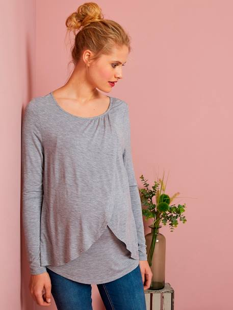 Maternity & Nursing Cross-Over T-Shirt Black+Grey marl+WHITE LIGHT SOLID