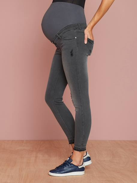 Maternity Washed Skinny Jeans, Ankle Length BLUE DARK WASCHED+GREY MEDIUM WASCHED