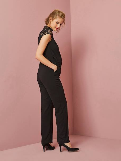Long Maternity Jumpsuit in Jersey Knit & Lace BLACK DARK SOLID