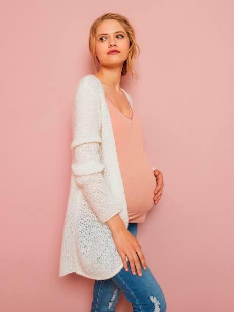 Maternity Loungewear Knit Cardigan BLUE DARK SOLID+WHITE LIGHT SOLID