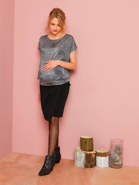 Maternity Wrap Skirt in Jersey Knit Fabric BLACK DARK SOLID