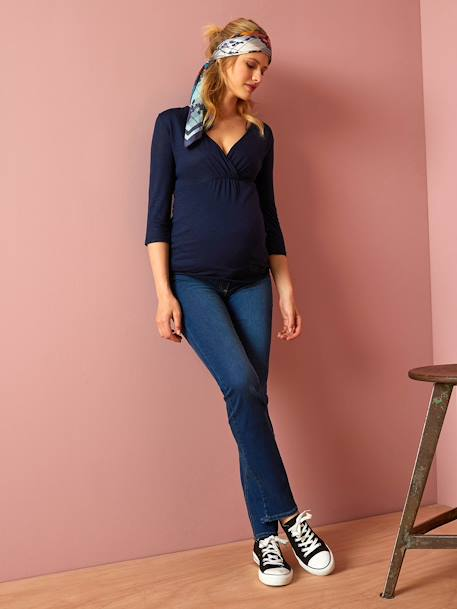 Maternity Straight Jeans - Inside Leg 33' BLACK DARK SOLID+Denim brut
