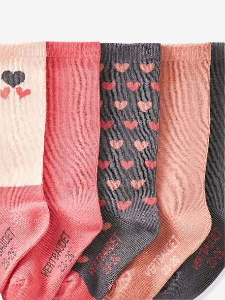 Pack of 5 Pairs of Socks for Girls PINK DARK 2 COLOR/MULTICOL OR+YELLOW DARK 2 COLOR/MULTICOL