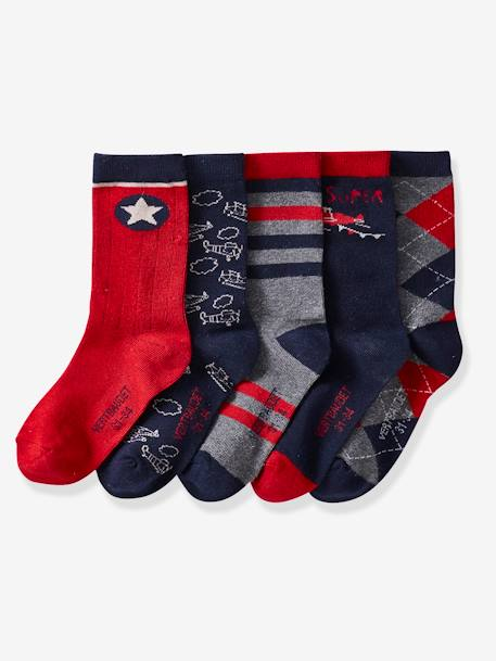 Pack of 5 Pairs of Socks for Boys RED DARK SOLID WITH DESIGN
