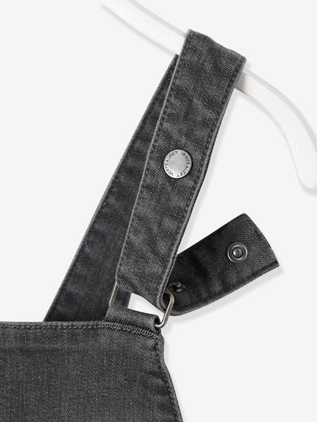 Denim Dungarees for Baby Girls GREY MEDIUM WASCHED