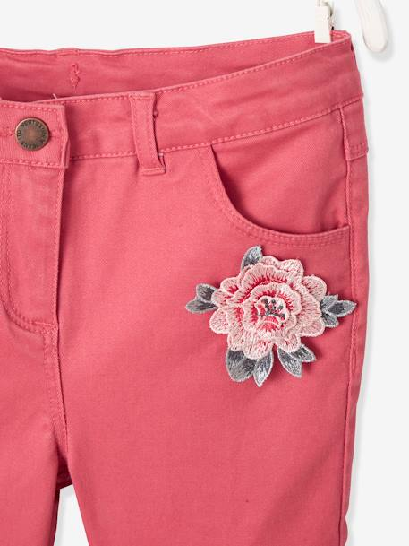 Slim Leg Cargo Trousers for Girls GREEN DARK SOLID WITH DESIGN+GREY DARK SOLID WITH DESIGN+PINK DARK SOLID WITH DESIGN