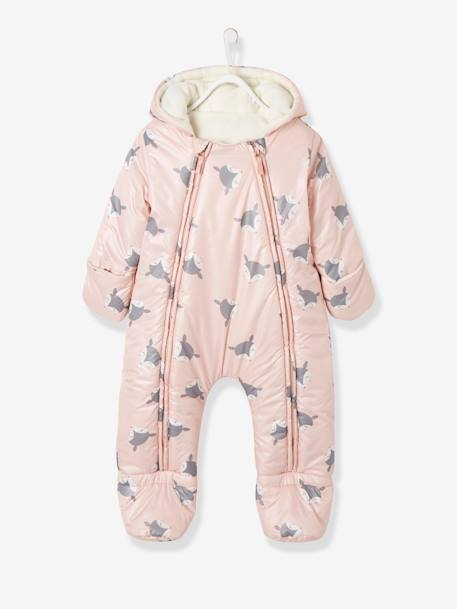 Convertible Baby Snowsuit BLUE MEDIUM SOLID+Ink+PINK LIGHT ALL OVER PRINTED+WHITE LIGHT SOLID WITH DESIGN