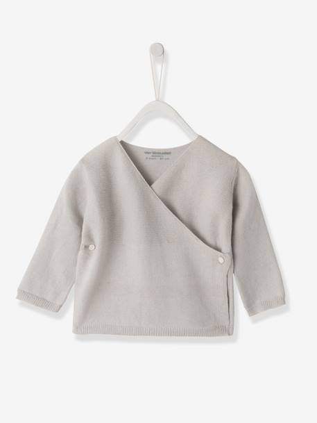 Knitted Baby Cardigan, Organic Collection Pale grey+White