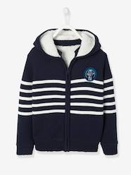 Boys-Striped Hooded Jacket with Plush Lining for Boys