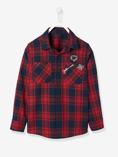 Flannel Shirt for Boys RED DARK CHECKS