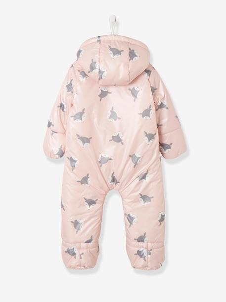 Convertible Baby Snowsuit BLUE MEDIUM SOLID+Ink+PINK LIGHT ALL OVER PRINTED