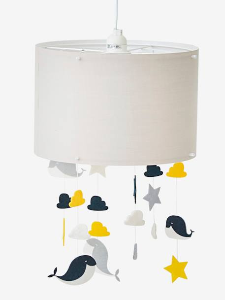 Ceiling Lampshade, Whale GREY MEDIUM SOLID WITH DESIGN