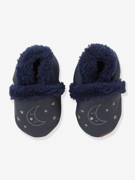 Soft Leather Shoes for Babies BLUE DARK SOLID WITH DESIGN
