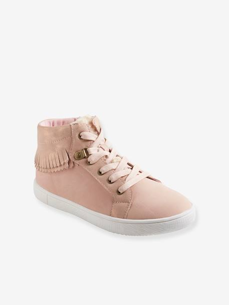 High Top Trainers with Fringes for Girls PINK LIGHT SOLID