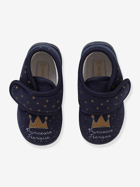 Velvet-Effect Shoes with Touch 'n' Close Fastening for Babies BLUE DARK ALL OVER PRINTED