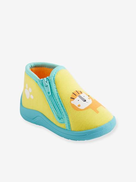 Slippers with Zip for Boys YELLOW DARK SOLID WITH DESIGN