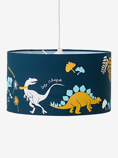 Ceiling Lampshade, Dinosaur BLUE DARK SOLID WITH DESIGN