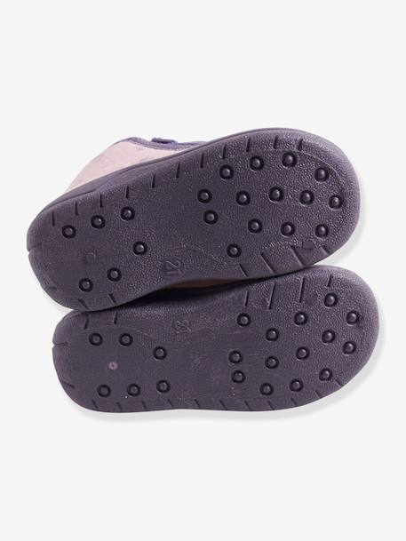 Velvet Effect Shoes with Zip for Babies PURPLE LIGHT SOLID WITH DESIGN