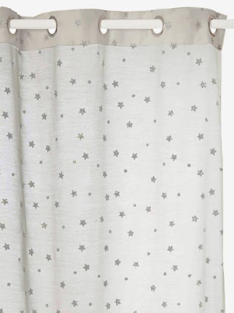 Curtain With Iridescent Stars GREY LIGHT ALL OVER PRINTED
