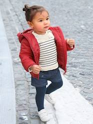 Baby-Outfits-Outfit for Baby Girls: Striped, Embroidered Sweatshirt & Denim Shorts