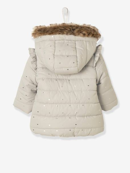 Long Padded Winter Jacket, for Baby Girls GREY LIGHT ALL OVER PRINTED