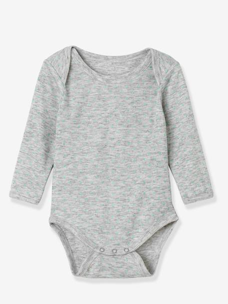 Baby Pack of 3 Coloured Long-Sleeved Bodysuits, Yacht Motif, Organic Collection GREY LIGHT TWO COLOR/MULTICOL