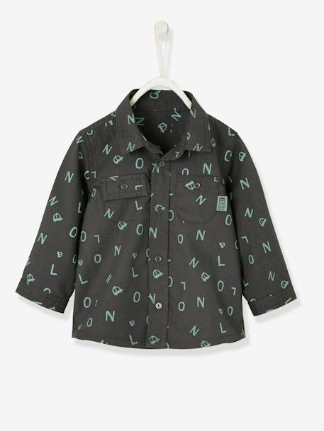 Shirt for Baby Boys, with Printed Motif GREY DARK ALL OVER PRINTED+WHITE LIGHT CHECKS