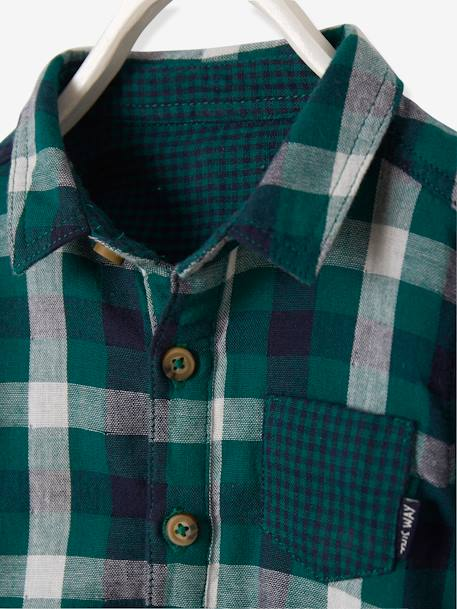 Baby's Checked Shirt GREEN DARK CHECKS+RED DARK CHECKS