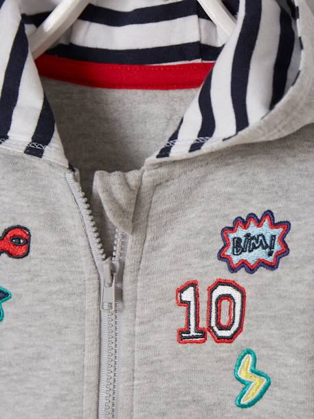 Fleece Jacket with Zip and Patches for Baby Boys GREY LIGHT MIXED COLOR