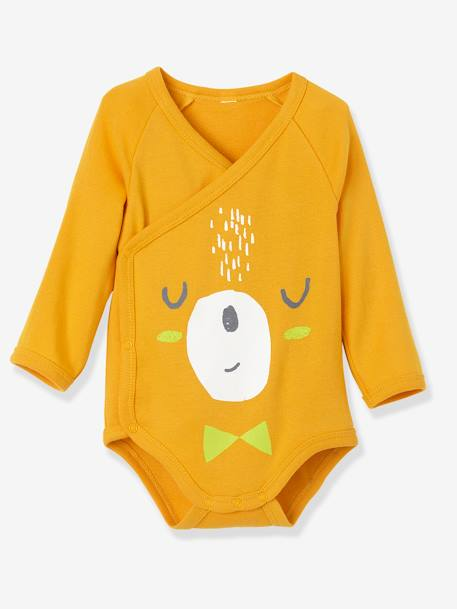Newborn Baby Pack of 3 Coloured Pure Cotton Bodysuits, Long Sleeves ORANGE LIGHT 2 COLOR/MULTICOL