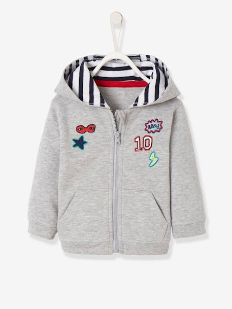 794652913e00 Fleece Jacket with Zip and Patches for Baby Boys