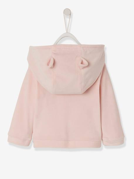 Jacket in Soft Velour for Babies PINK LIGHT SOLID