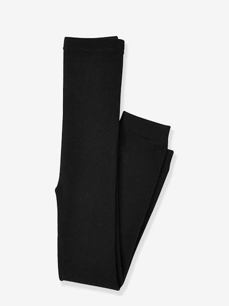 Girls' Leggings with Fleece Lining BLACK DARK SOLID+GREY DARK SOLID