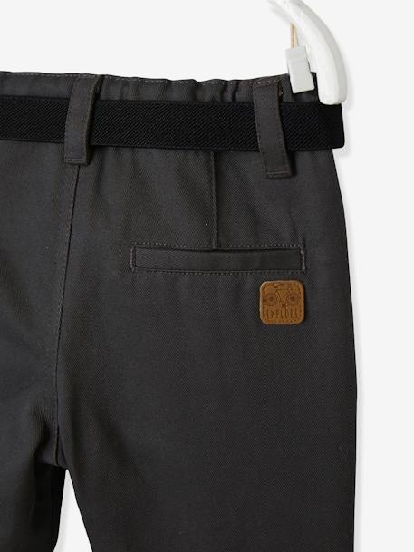 Baby Boys' Lined Fabric Trousers & Belt GREY DARK SOLID+RED DARK SOLID+YELLOW DARK SOLID