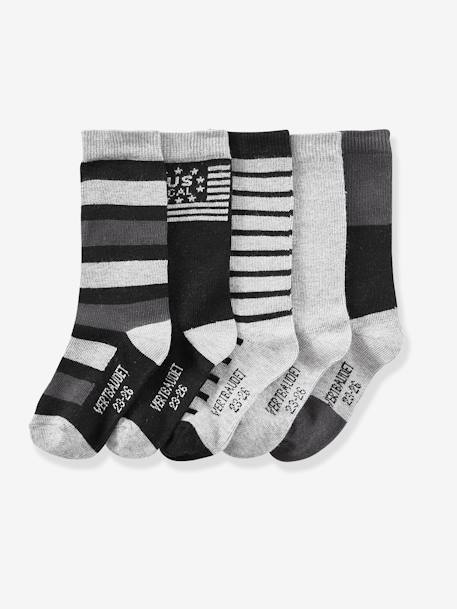 Pack of 5 Pairs of High Socks for Boys BLUE DARK SOLID WITH DESIGN+GREY MEDIUM MIXED COLOR
