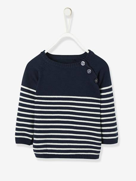 Baby Boys' Striped Jumper BLUE MEDIUM STRIPED+GREY LIGHT MIXED COLOR+WHITE MEDIUM STRIPED+YELLOW DARK STRIPED
