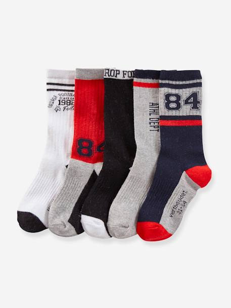 Pack of 5 Pairs of Sports Socks for Boys GREY MEDIUM MIXED COLOR