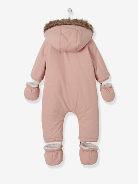 Baby Padded Jumpsuit with Plush Lining BEIGE LIGHT SOLID+GREY DARK SOLID