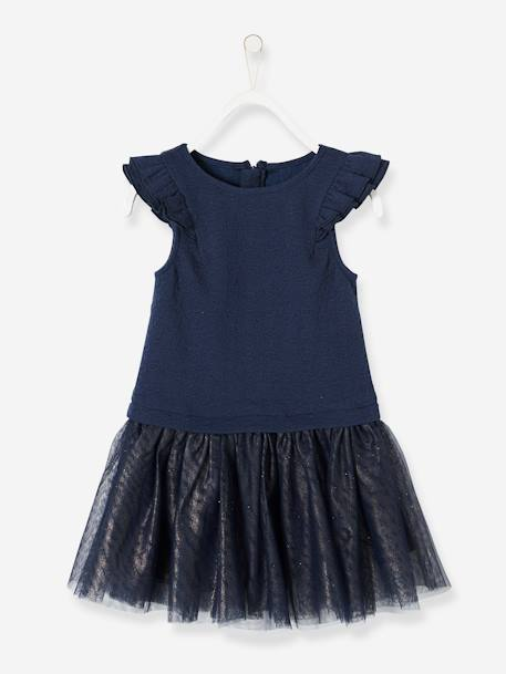Girls' Dual Fabric 2-in-1 Dress BLUE DARK SOLID+PINK LIGHT SOLID