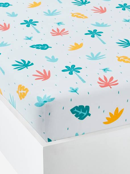 Children's Fitted Sheet, Crocodiles Theme WHITE LIGHT ALL OVER PRINTED