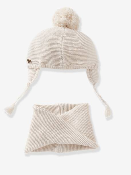 Baby Girls Chapka & Snood Set Rose+WHITE LIGHT SOLID