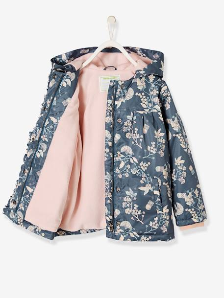 Raincoat with Fleece Lining for Girls BLUE DARK ALL OVER PRINTED